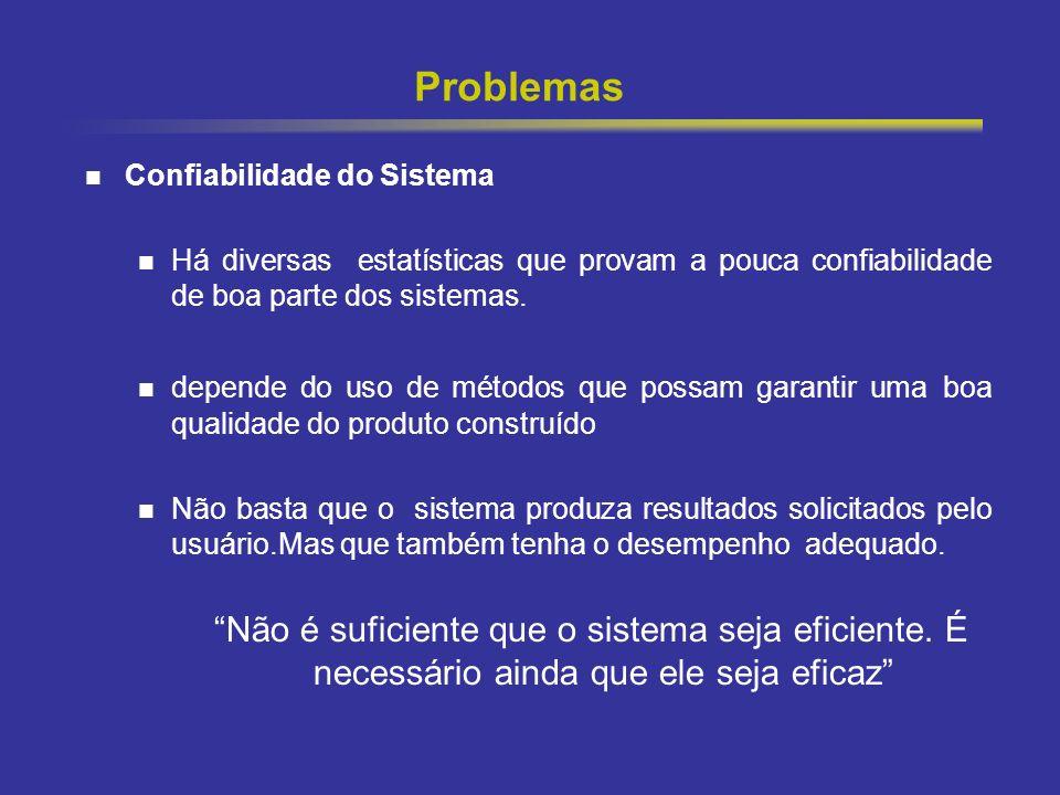 10 Problemas Confiabilidade do Sistema Há diversas estatísticas que provam a pouca confiabilidade de boa parte dos sistemas. depende do uso de métodos