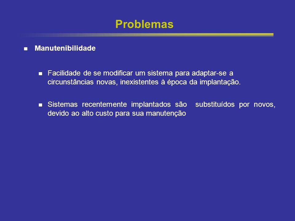 11 Problemas Manutenibilidade Facilidade de se modificar um sistema para adaptar-se a circunstâncias novas, inexistentes à época da implantação. Siste