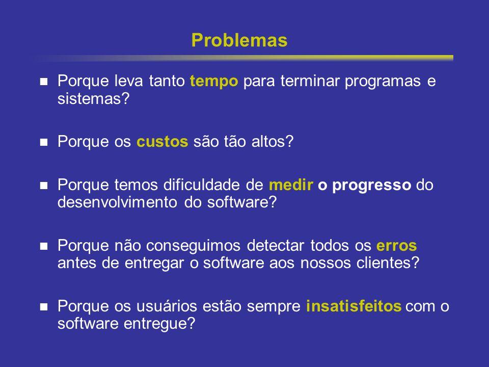 13 Problemas Porque leva tanto tempo para terminar programas e sistemas? Porque os custos são tão altos? Porque temos dificuldade de medir o progresso