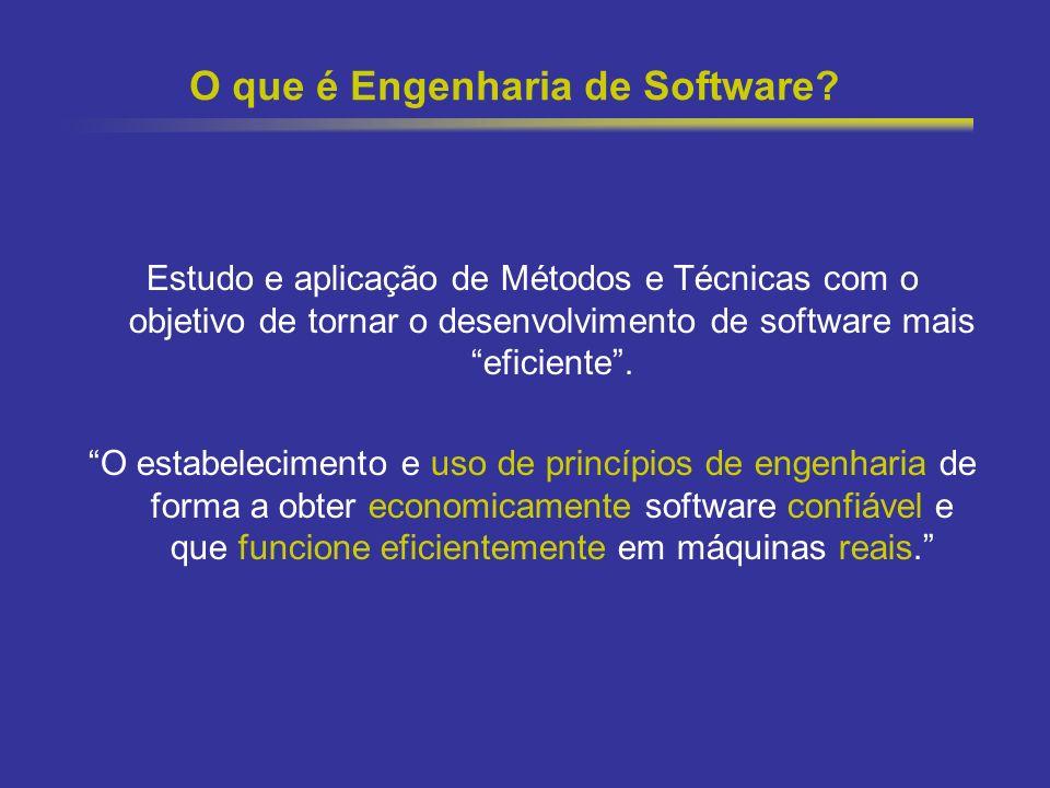 17 O que é Engenharia de Software? Estudo e aplicação de Métodos e Técnicas com o objetivo de tornar o desenvolvimento de software mais eficiente. O e