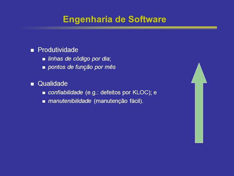 19 Engenharia de Software Produtividade linhas de código por dia; pontos de função por mês Qualidade confiabilidade (e.g.: defeitos por KLOC); e manut