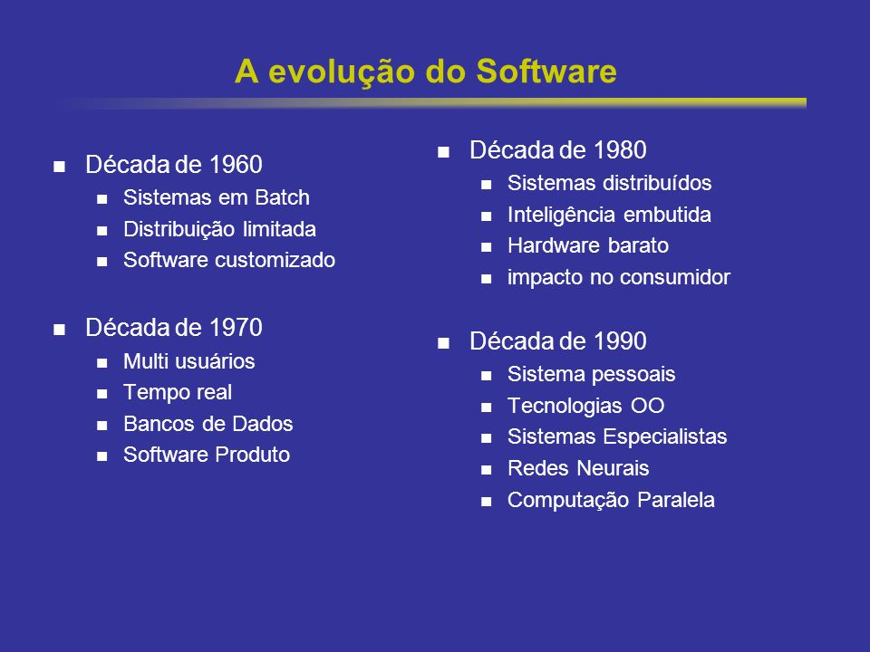 2 A evolução do Software Década de 1960 Sistemas em Batch Distribuição limitada Software customizado Década de 1970 Multi usuários Tempo real Bancos d