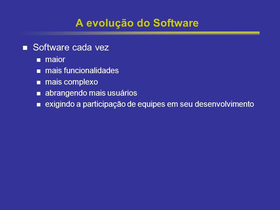 4 A evolução do Software Software cada vez maior mais funcionalidades mais complexo abrangendo mais usuários exigindo a participação de equipes em seu