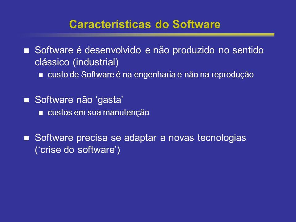 5 Características do Software Software é desenvolvido e não produzido no sentido clássico (industrial) custo de Software é na engenharia e não na repr