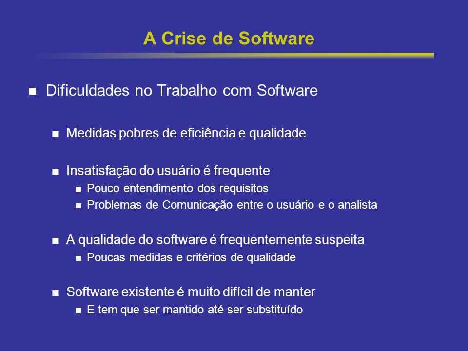 6 A Crise de Software Dificuldades no Trabalho com Software Medidas pobres de eficiência e qualidade Insatisfação do usuário é frequente Pouco entendi