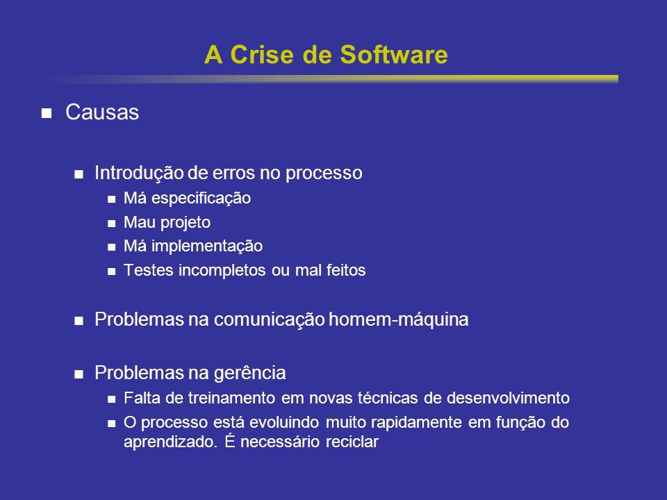 7 A Crise de Software Causas Introdução de erros no processo Má especificação Mau projeto Má implementação Testes incompletos ou mal feitos Problemas