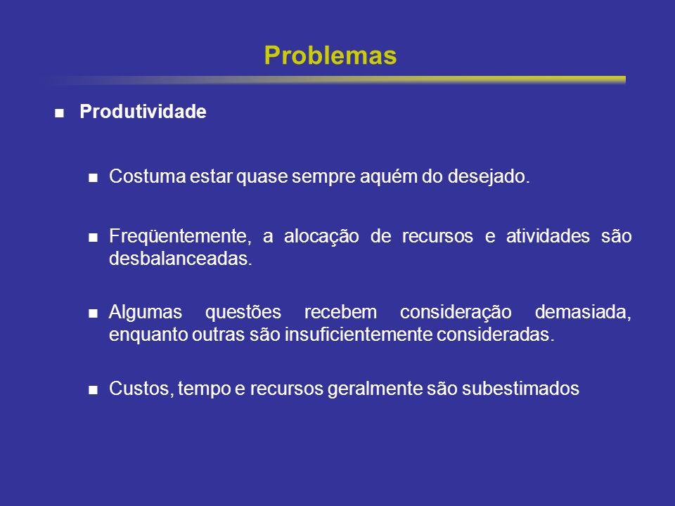 9 Problemas Produtividade Costuma estar quase sempre aquém do desejado. Freqüentemente, a alocação de recursos e atividades são desbalanceadas. Alguma