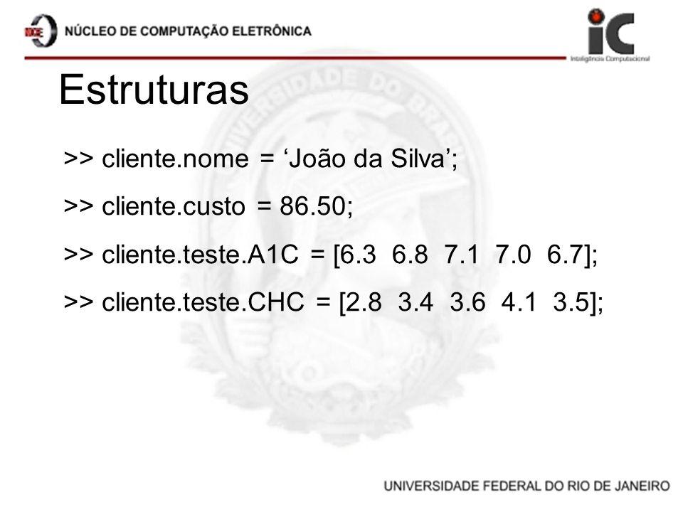 Estruturas >> cliente.nome = João da Silva; >> cliente.custo = 86.50; >> cliente.teste.A1C = [6.3 6.8 7.1 7.0 6.7]; >> cliente.teste.CHC = [2.8 3.4 3.
