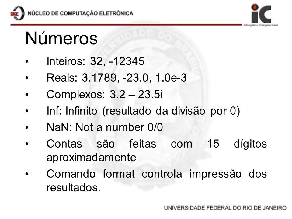 Números Inteiros: 32, -12345 Reais: 3.1789, -23.0, 1.0e-3 Complexos: 3.2 – 23.5i Inf: Infinito (resultado da divisão por 0) NaN: Not a number 0/0 Cont