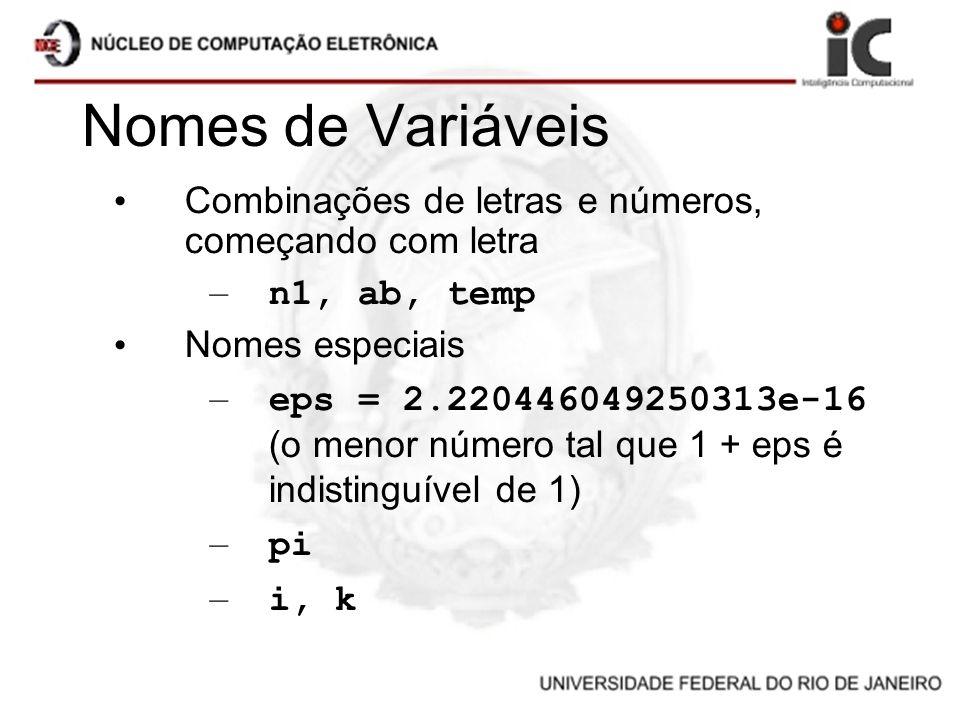 Nomes de Variáveis Combinações de letras e números, começando com letra – n1, ab, temp Nomes especiais – eps = 2.220446049250313e-16 (o menor número t