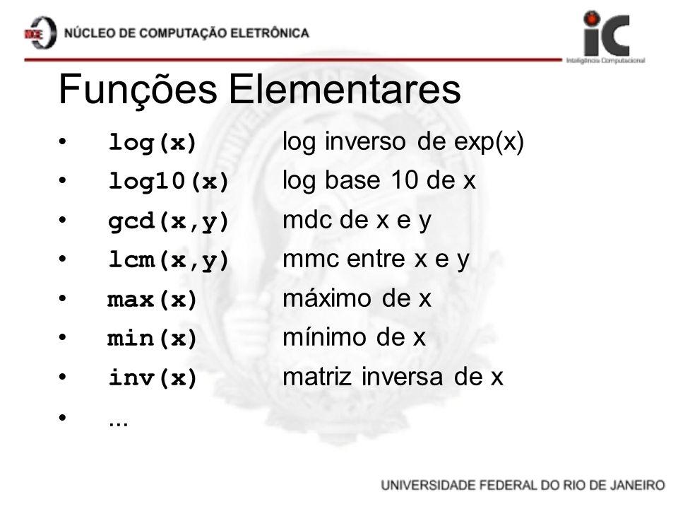 Funções Elementares log(x) log inverso de exp(x) log10(x) log base 10 de x gcd(x,y) mdc de x e y lcm(x,y) mmc entre x e y max(x) máximo de x min(x) mí