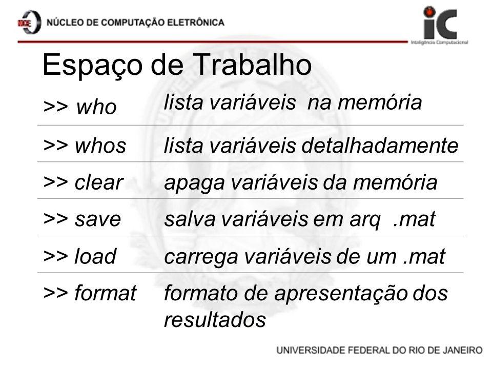 Espaço de Trabalho >> who lista variáveis na memória >> whoslista variáveis detalhadamente >> clearapaga variáveis da memória >> savesalva variáveis e