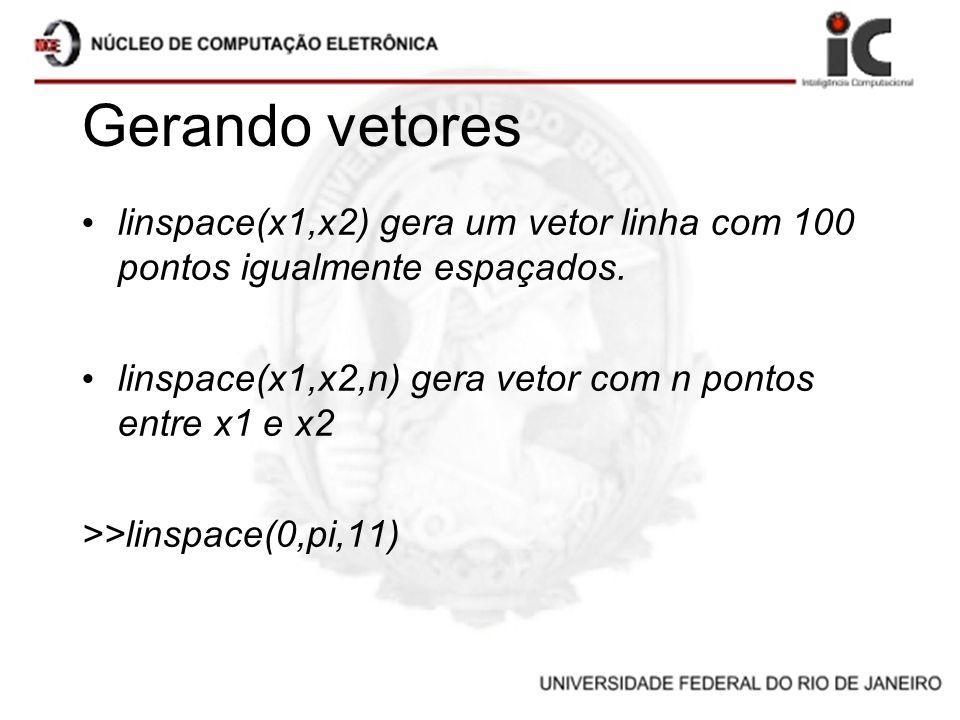 Gerando vetores linspace(x1,x2) gera um vetor linha com 100 pontos igualmente espaçados. linspace(x1,x2,n) gera vetor com n pontos entre x1 e x2 >>lin