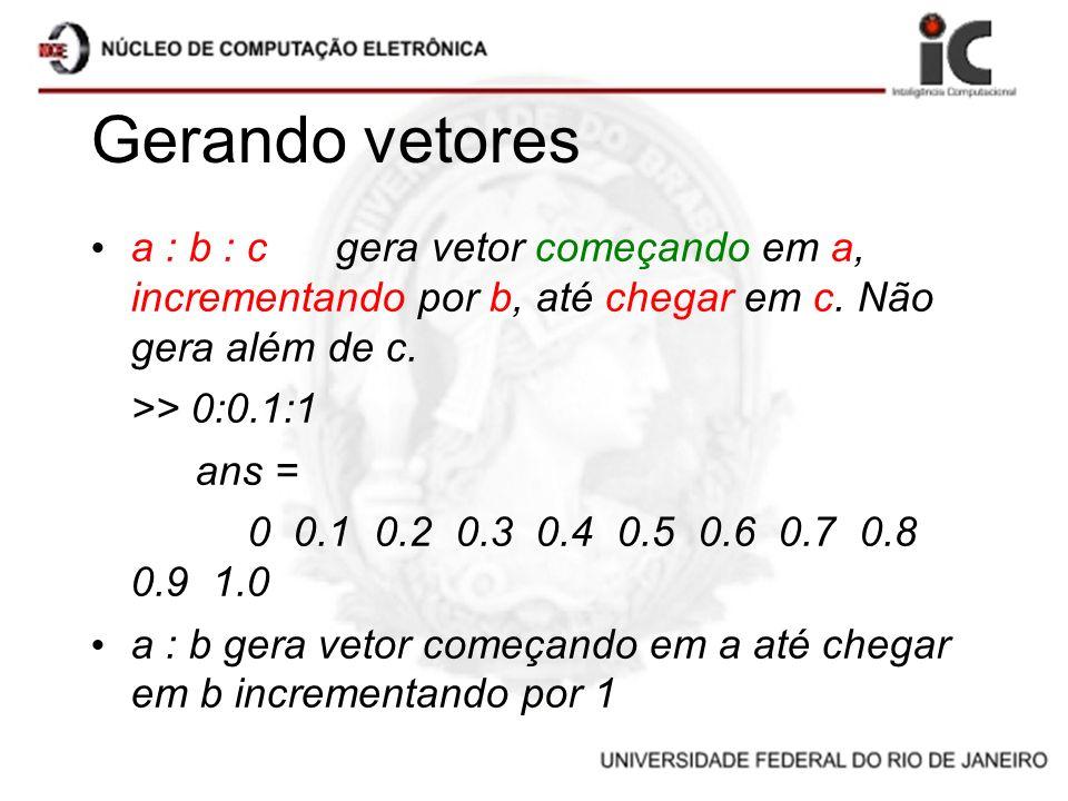 Gerando vetores a : b : c gera vetor começando em a, incrementando por b, até chegar em c. Não gera além de c. >> 0:0.1:1 ans = 0 0.1 0.2 0.3 0.4 0.5