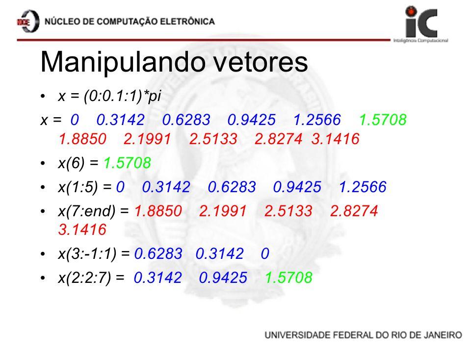 Manipulando vetores x = (0:0.1:1)*pi x = 0 0.3142 0.6283 0.9425 1.2566 1.5708 1.8850 2.1991 2.5133 2.8274 3.1416 x(6) = 1.5708 x(1:5) = 0 0.3142 0.628