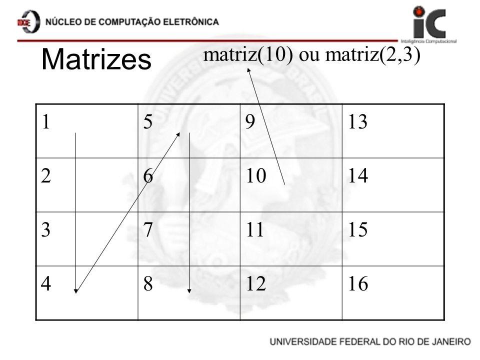 Matrizes 15913 261014 371115 481216 matriz(10) ou matriz(2,3)