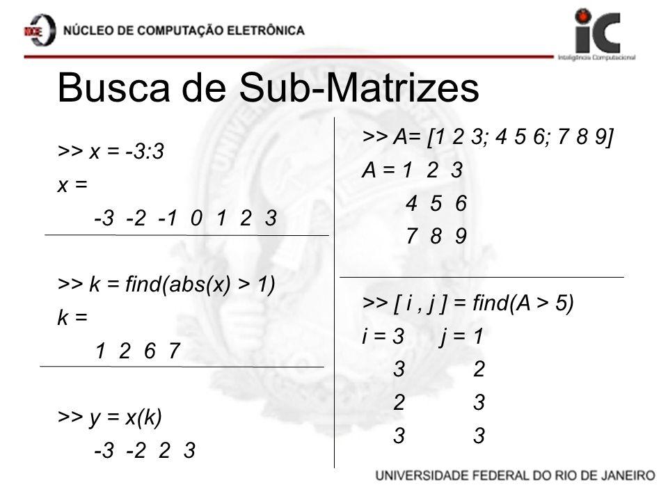 Busca de Sub-Matrizes >> x = -3:3 x = -3 -2 -1 0 1 2 3 >> k = find(abs(x) > 1) k = 1 2 6 7 >> y = x(k) -3 -2 2 3 >> A= [1 2 3; 4 5 6; 7 8 9] A = 1 2 3
