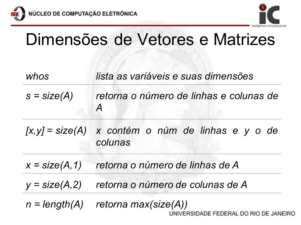 Dimensões de Vetores e Matrizes whoslista as variáveis e suas dimensões s = size(A)retorna o número de linhas e colunas de A [x,y] = size(A)x contém o