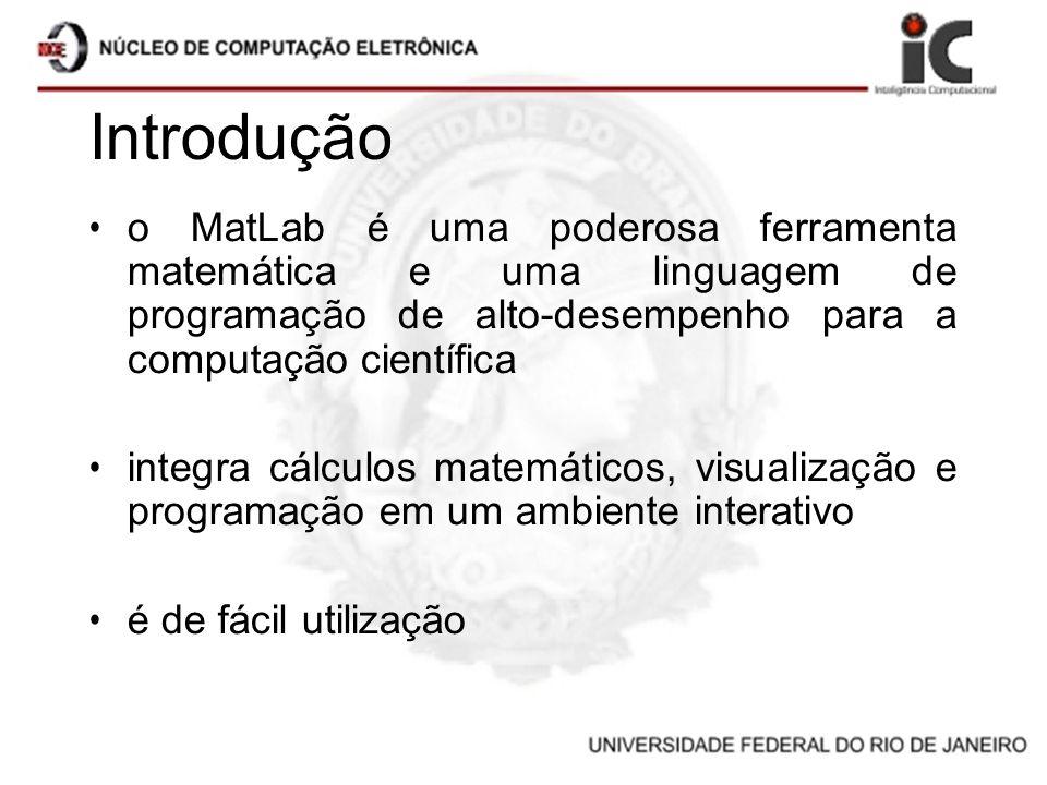 Introdução o MatLab é uma poderosa ferramenta matemática e uma linguagem de programação de alto-desempenho para a computação científica integra cálcul