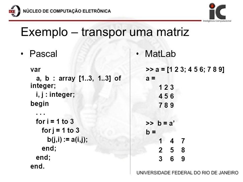 Exemplo – transpor uma matriz Pascal var a, b : array [1..3, 1..3] of integer; i, j : integer; begin... for i = 1 to 3 for j = 1 to 3 b(j,i) := a(i,j)