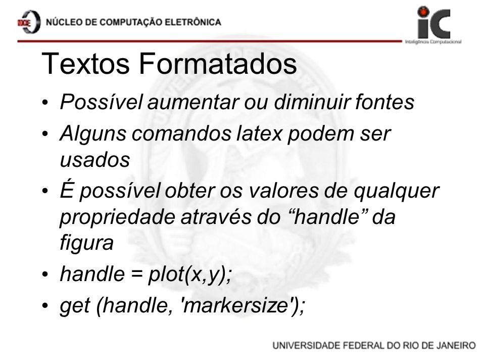Textos Formatados Possível aumentar ou diminuir fontes Alguns comandos latex podem ser usados É possível obter os valores de qualquer propriedade atra