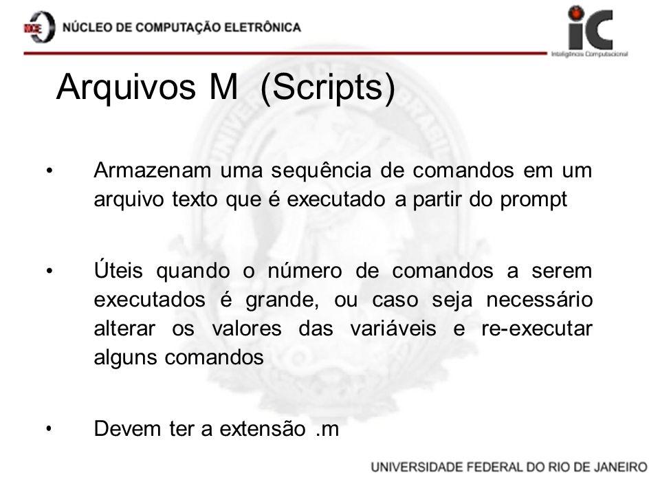 Arquivos M (Scripts) Armazenam uma sequência de comandos em um arquivo texto que é executado a partir do prompt Úteis quando o número de comandos a se