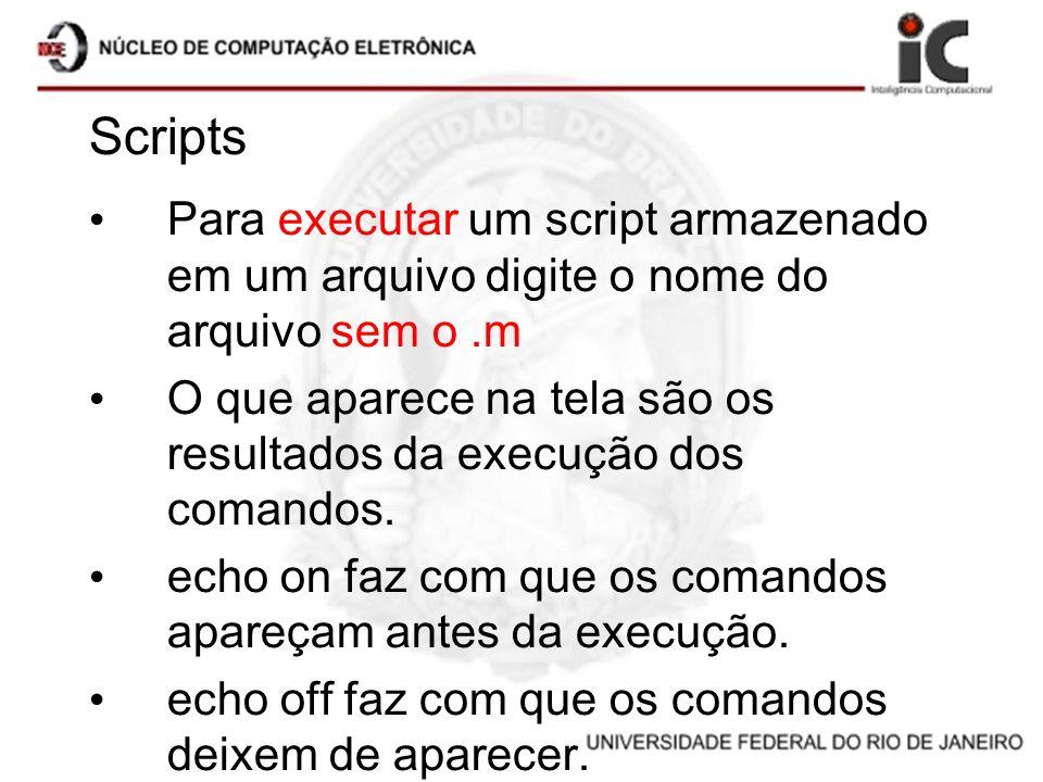 Scripts Para executar um script armazenado em um arquivo digite o nome do arquivo sem o.m O que aparece na tela são os resultados da execução dos coma