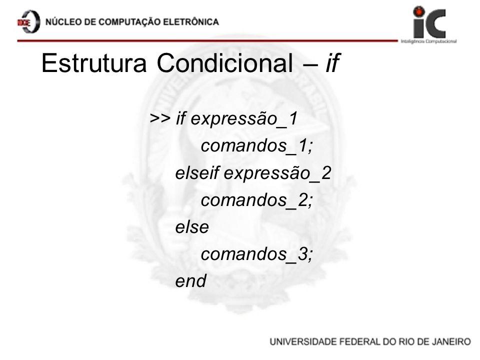 Estrutura Condicional – if >> if expressão_1 comandos_1; elseif expressão_2 comandos_2; else comandos_3; end