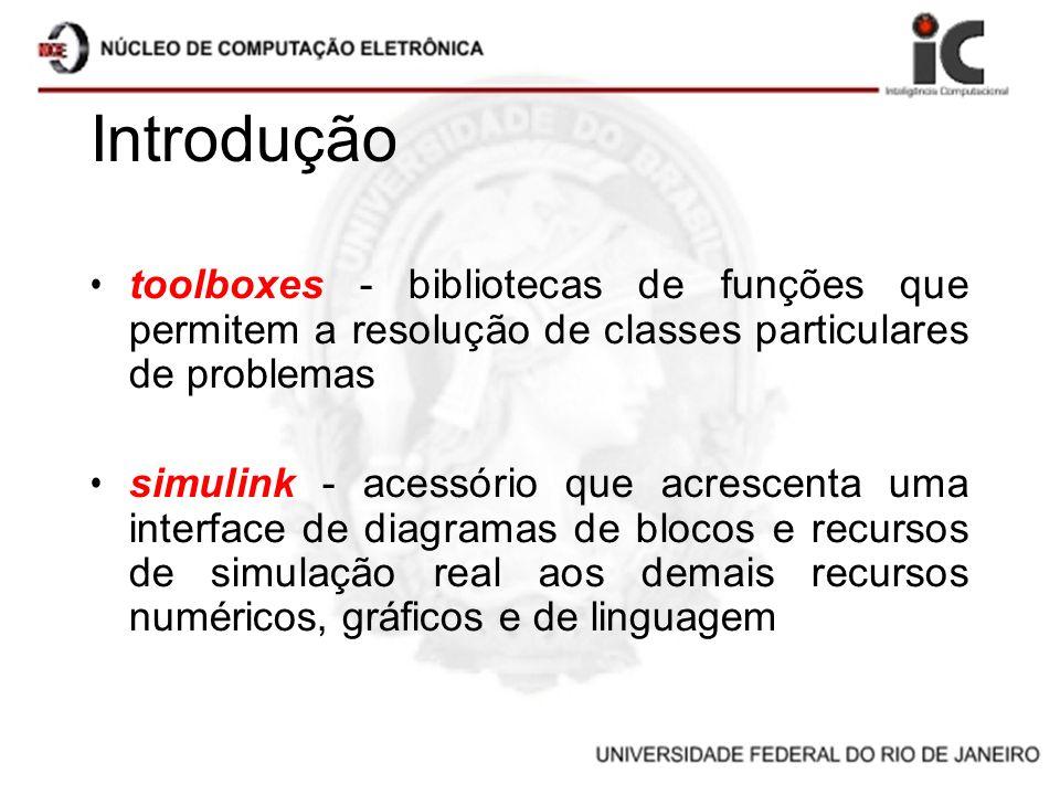 Introdução toolboxes - bibliotecas de funções que permitem a resolução de classes particulares de problemas simulink - acessório que acrescenta uma in