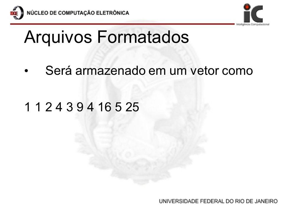 Arquivos Formatados Será armazenado em um vetor como 1 1 2 4 3 9 4 16 5 25