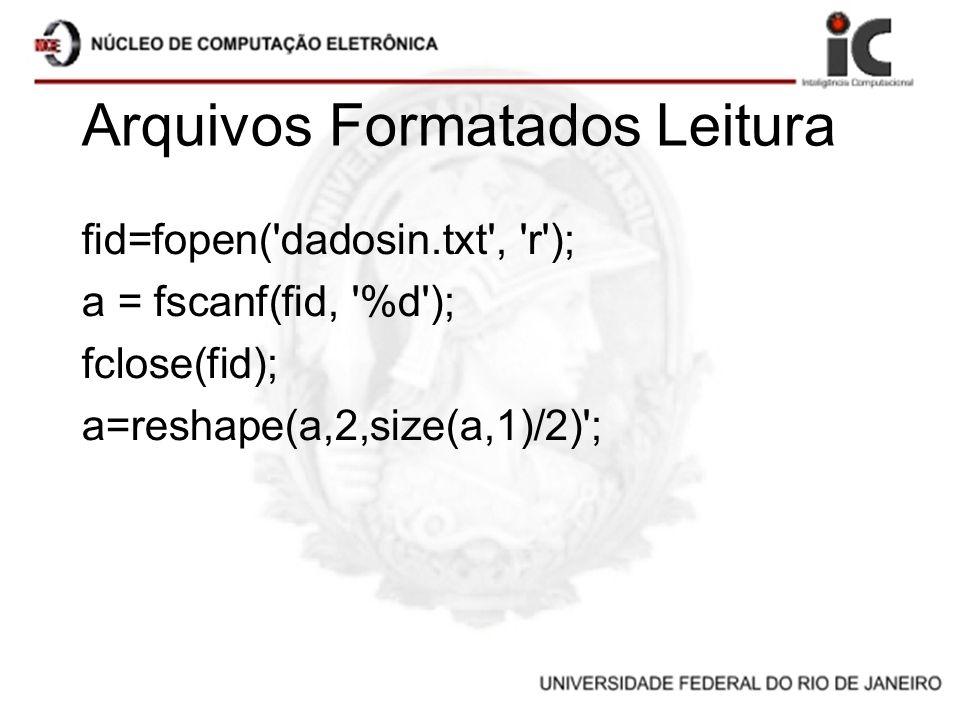 Arquivos Formatados Leitura fid=fopen('dadosin.txt', 'r'); a = fscanf(fid, '%d'); fclose(fid); a=reshape(a,2,size(a,1)/2)';