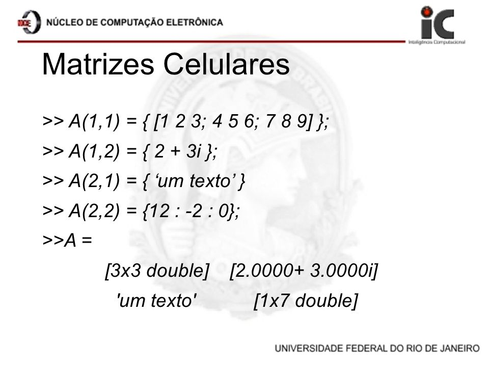 Matrizes Celulares >> A(1,1) = { [1 2 3; 4 5 6; 7 8 9] }; >> A(1,2) = { 2 + 3i }; >> A(2,1) = { um texto } >> A(2,2) = {12 : -2 : 0}; >>A = [3x3 doubl