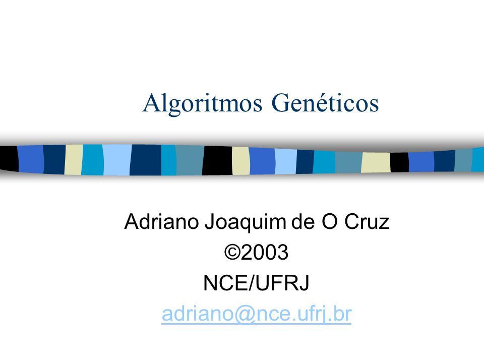 @2002 Adriano Cruz NCE e IM - UFRJAlgoritmos Genéticos 2 Sumário n Introdução n Aplicações n Operadores n Exemplos