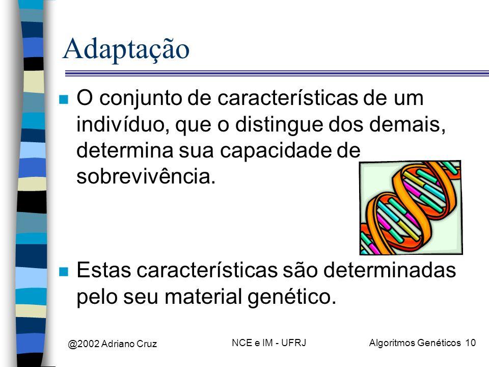 @2002 Adriano Cruz NCE e IM - UFRJAlgoritmos Genéticos 10 Adaptação n O conjunto de características de um indivíduo, que o distingue dos demais, deter