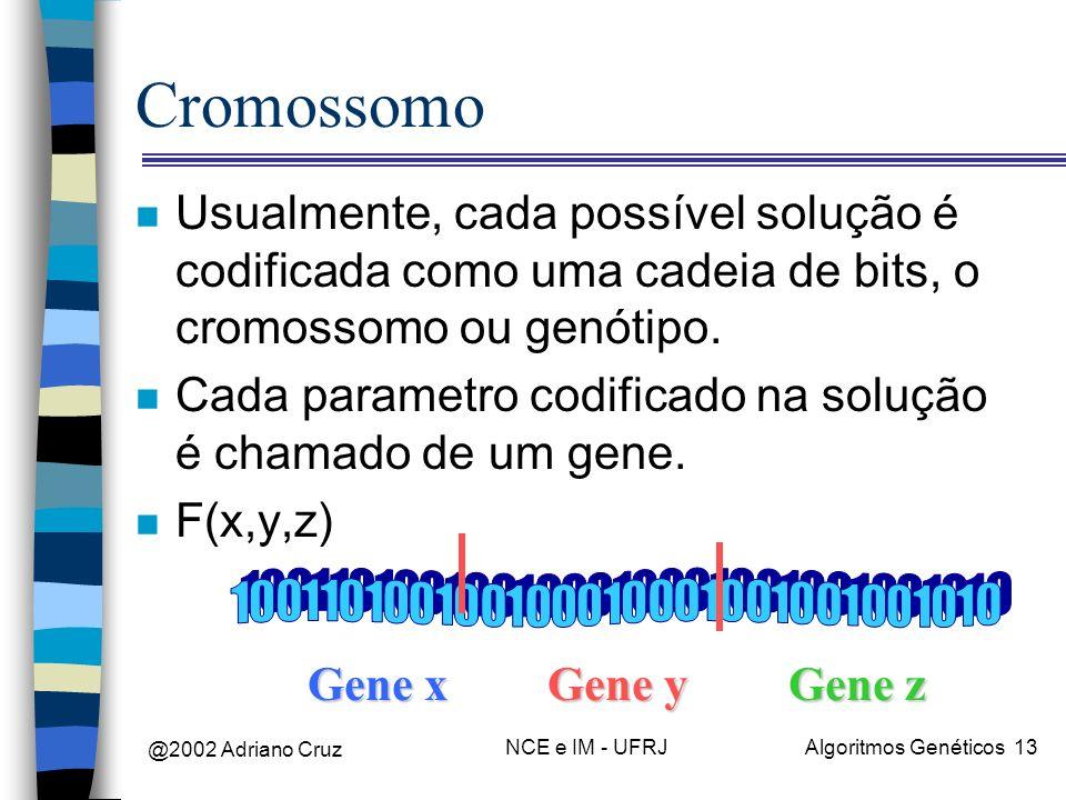 @2002 Adriano Cruz NCE e IM - UFRJAlgoritmos Genéticos 13 Cromossomo n Usualmente, cada possível solução é codificada como uma cadeia de bits, o cromo