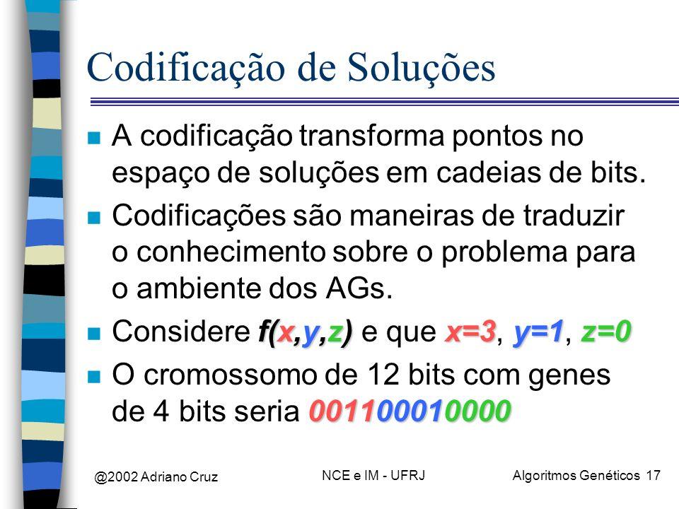 @2002 Adriano Cruz NCE e IM - UFRJAlgoritmos Genéticos 17 Codificação de Soluções n A codificação transforma pontos no espaço de soluções em cadeias d