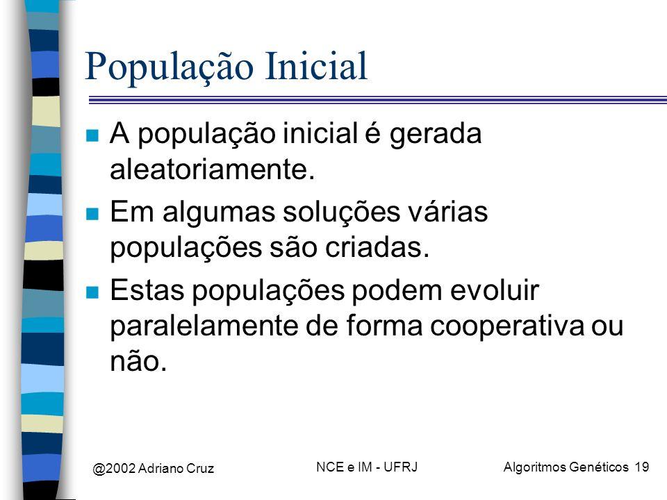 @2002 Adriano Cruz NCE e IM - UFRJAlgoritmos Genéticos 19 População Inicial n A população inicial é gerada aleatoriamente. n Em algumas soluções vária