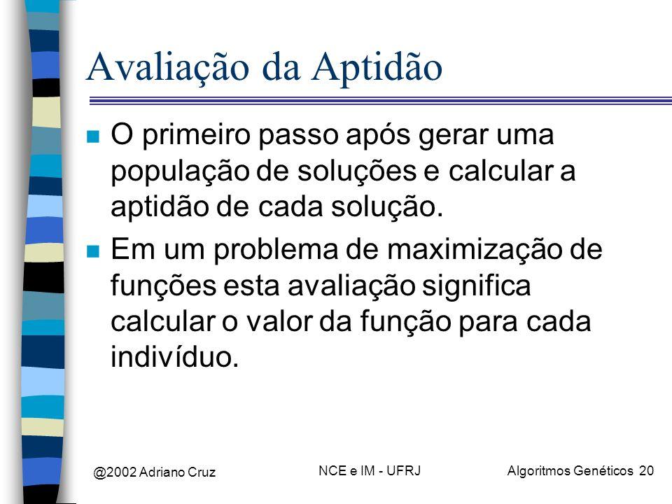 @2002 Adriano Cruz NCE e IM - UFRJAlgoritmos Genéticos 20 Avaliação da Aptidão n O primeiro passo após gerar uma população de soluções e calcular a ap