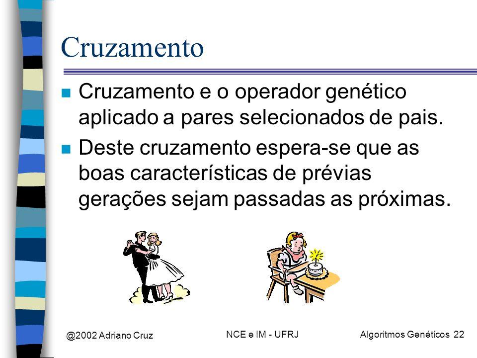 @2002 Adriano Cruz NCE e IM - UFRJAlgoritmos Genéticos 22 Cruzamento n Cruzamento e o operador genético aplicado a pares selecionados de pais. n Deste