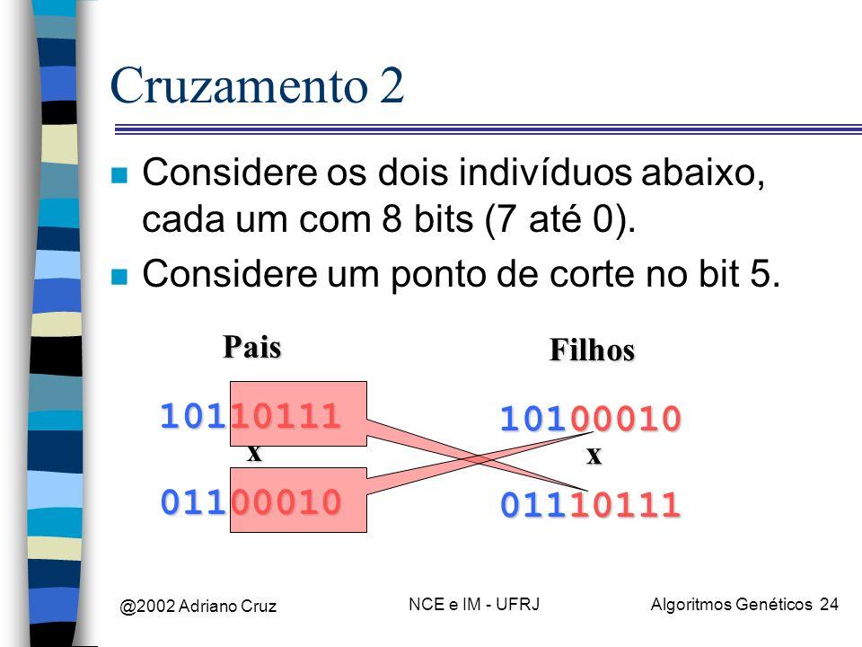 @2002 Adriano Cruz NCE e IM - UFRJAlgoritmos Genéticos 24 Cruzamento 2 n Considere os dois indivíduos abaixo, cada um com 8 bits (7 até 0). n Consider