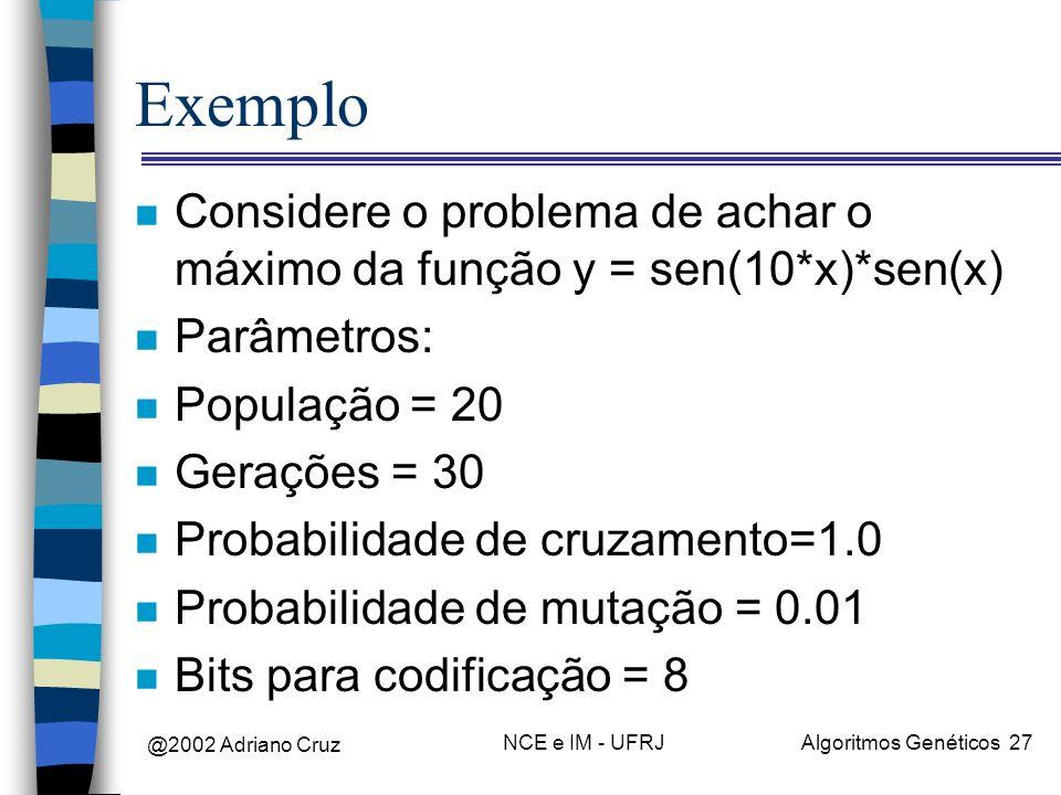@2002 Adriano Cruz NCE e IM - UFRJAlgoritmos Genéticos 27 Exemplo n Considere o problema de achar o máximo da função y = sen(10*x)*sen(x) n Parâmetros