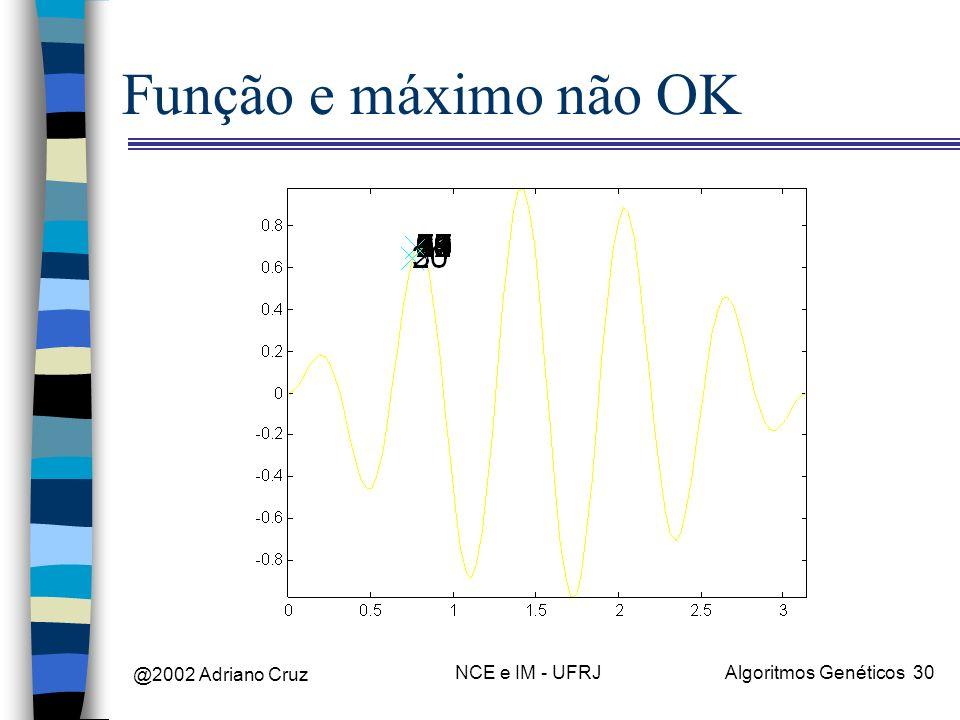 @2002 Adriano Cruz NCE e IM - UFRJAlgoritmos Genéticos 30 Função e máximo não OK