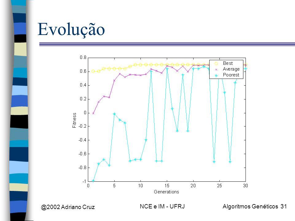 @2002 Adriano Cruz NCE e IM - UFRJAlgoritmos Genéticos 31 Evolução