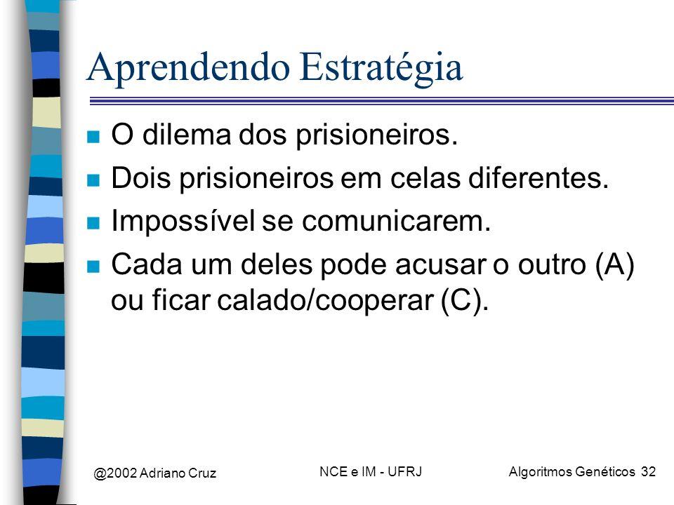 @2002 Adriano Cruz NCE e IM - UFRJAlgoritmos Genéticos 32 Aprendendo Estratégia n O dilema dos prisioneiros. n Dois prisioneiros em celas diferentes.