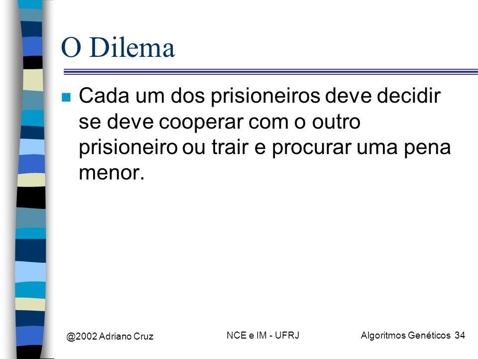 @2002 Adriano Cruz NCE e IM - UFRJAlgoritmos Genéticos 34 O Dilema n Cada um dos prisioneiros deve decidir se deve cooperar com o outro prisioneiro ou