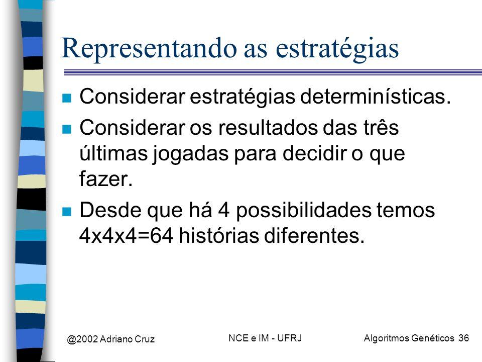 @2002 Adriano Cruz NCE e IM - UFRJAlgoritmos Genéticos 36 Representando as estratégias n Considerar estratégias determinísticas. n Considerar os resul