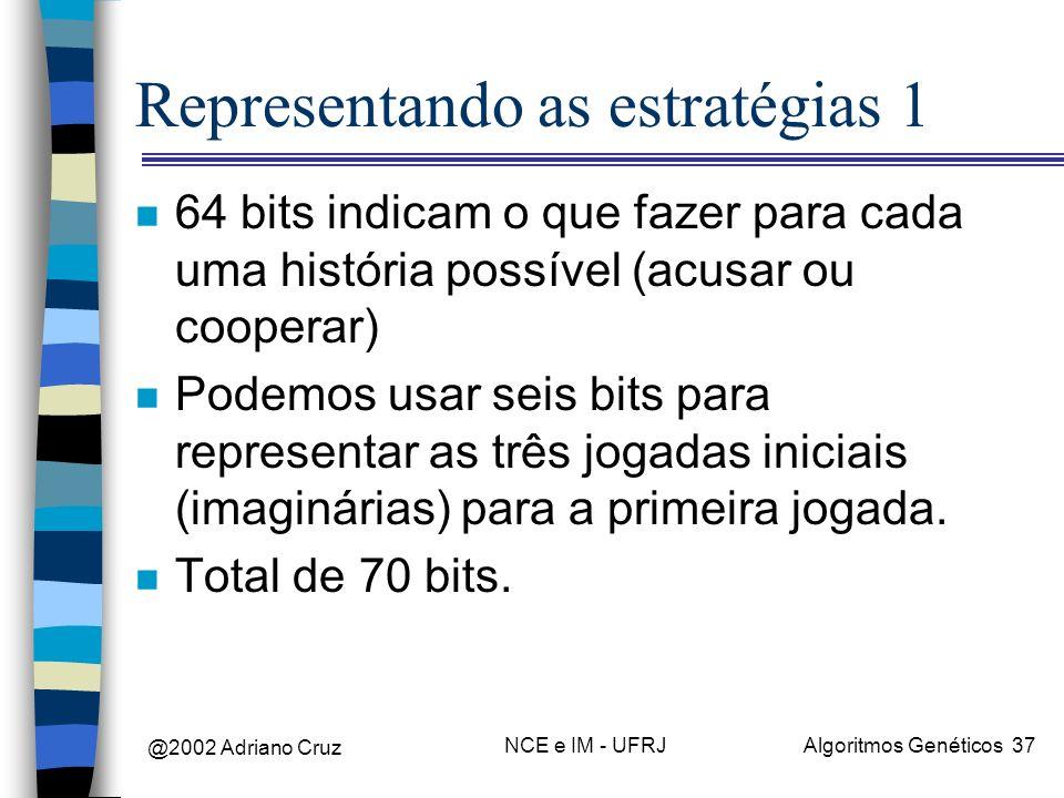 @2002 Adriano Cruz NCE e IM - UFRJAlgoritmos Genéticos 37 Representando as estratégias 1 n 64 bits indicam o que fazer para cada uma história possível