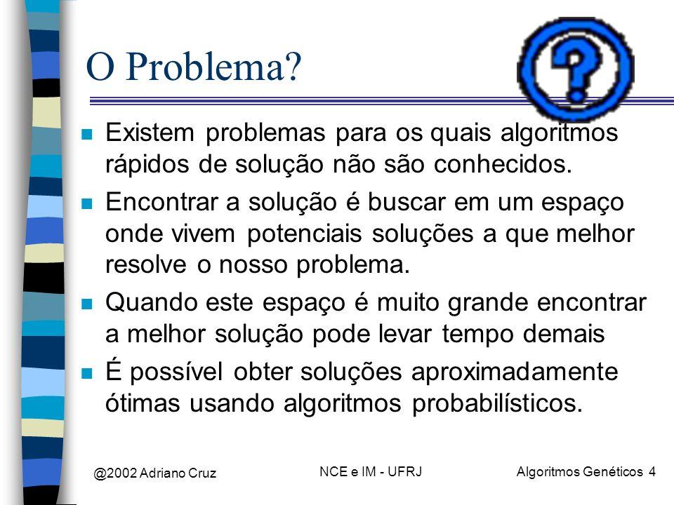 @2002 Adriano Cruz NCE e IM - UFRJAlgoritmos Genéticos 4 O Problema? n Existem problemas para os quais algoritmos rápidos de solução não são conhecido