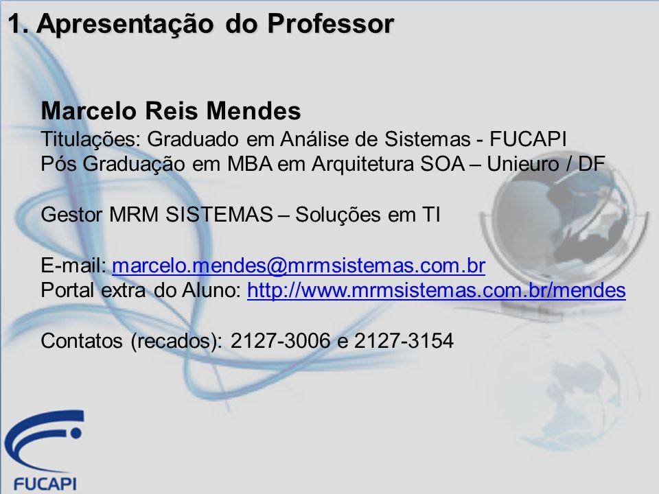 1. Apresentação do Professor Marcelo Reis Mendes Titulações: Graduado em Análise de Sistemas - FUCAPI Pós Graduação em MBA em Arquitetura SOA – Unieur