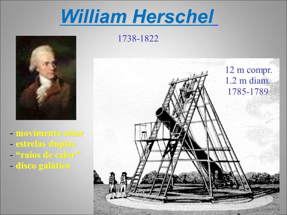 William Herschel movimento solar - movimento solar - estrelas duplas - raios de calor - disco galático 1738-1822 12 m compr. 1.2 m diam. 1785-1789